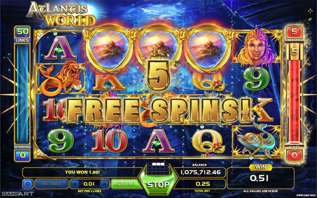 Atlantis world gameart slot game Karaçoban
