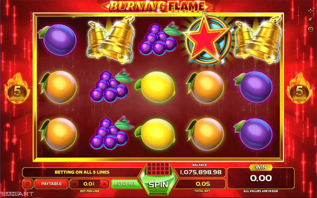 Burning Flame is a simple five-payline slot game and players looking for classic fruit machine action should enjoy spinning this slot.Although there are few special features outside the scatter symbol and gamble game, the theme is ideal for those cold winter nights! Disclaimer: Burning Flame trademark / license is owned by GameArt/5(1).Tuzluca